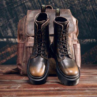 Bocanci cu platforma din piele naturala HELTER Vintage Brown
