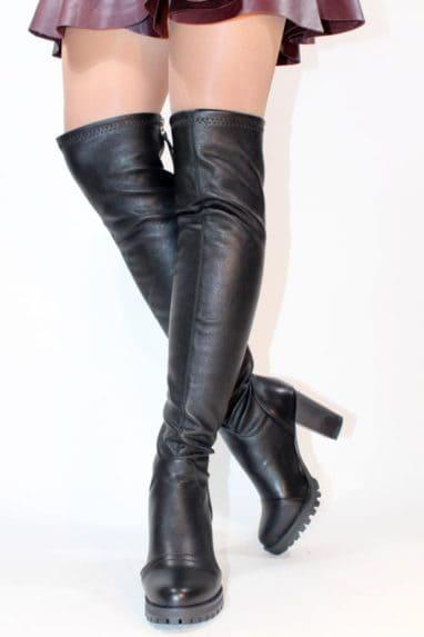 Cizme lungi cu toc, peste genunchi elastice stretch