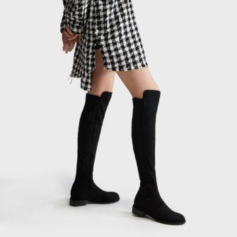 Cizme peste genunchi din piele naturala intoarsa elastica (stretch suede), care nu aluneca pe picior