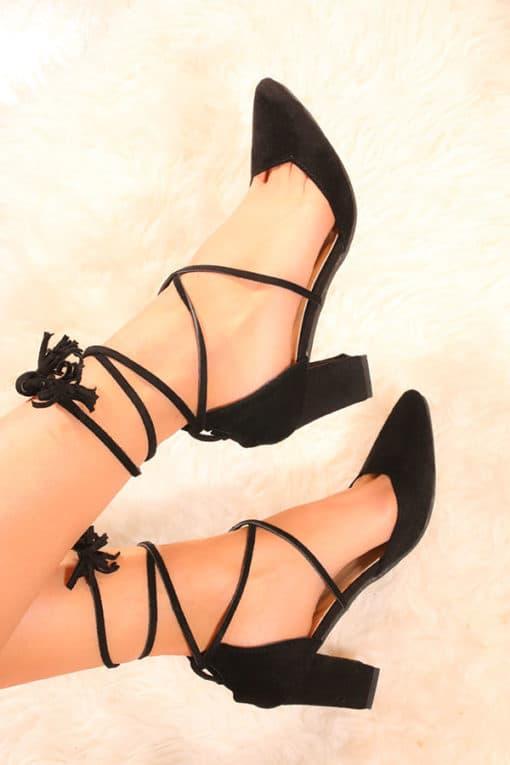Pantofi cu siret dama StepNegru