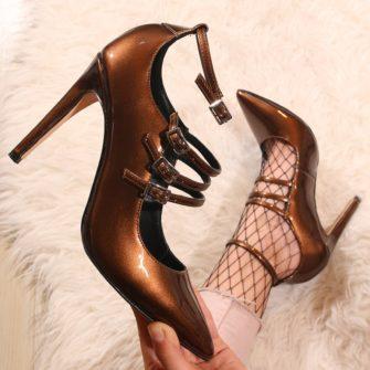 Pantofi stiletto lacuiti maro - JASPAL