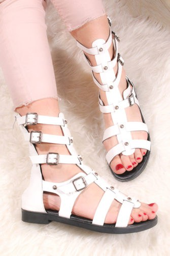 Sandale albe fara toc StudsAlb