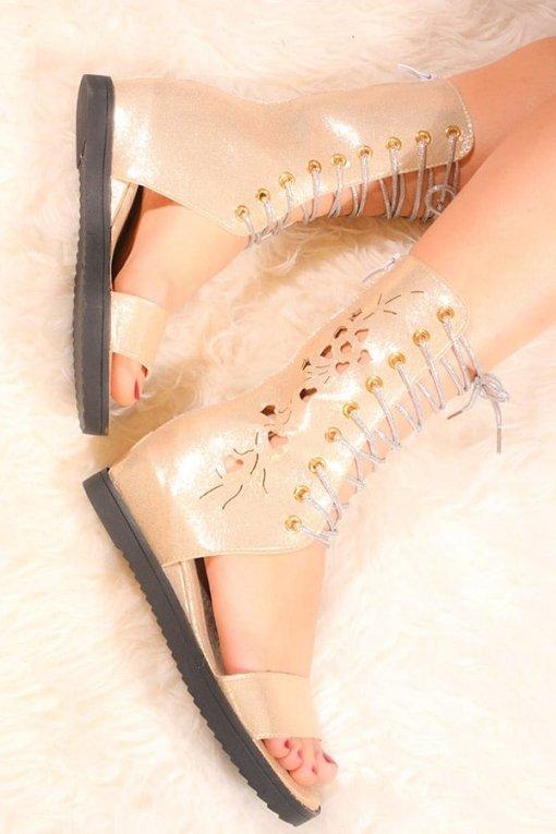 Sandale aurii cu platforma ascunsa Shine