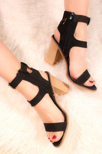 Sandale cu barete pe glezna negre AZM2