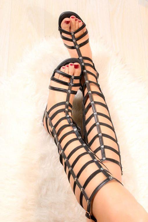 Sandale cu bretele lungi elastice Stuart
