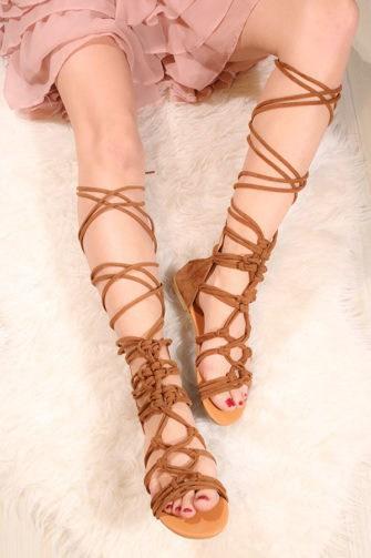 Sandale cu siret pe picior Velvet maro