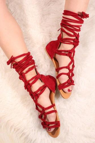 Sandale cu siret pe picior VelvetRosu