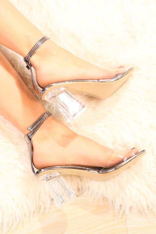 Sandale cu toc mediu transparent Ghost