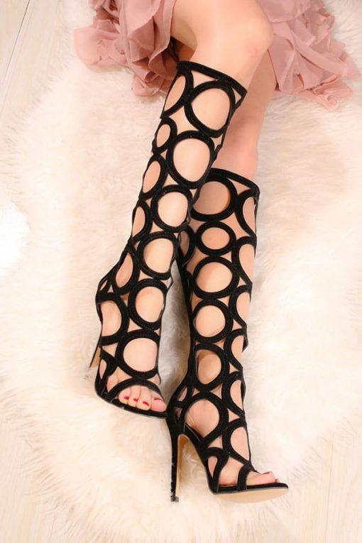 Sandale cu toc negre LaferC
