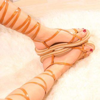 Sandale inalte gladiator maro Straps