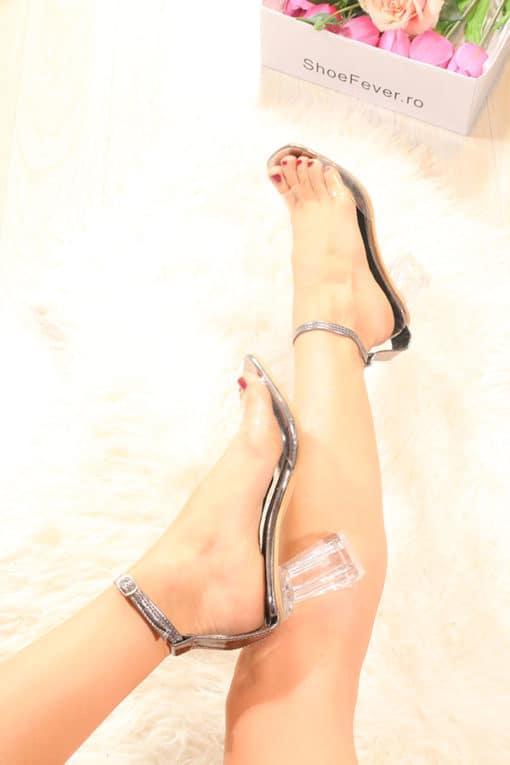 Sandale nud cu toc transparent Ghost