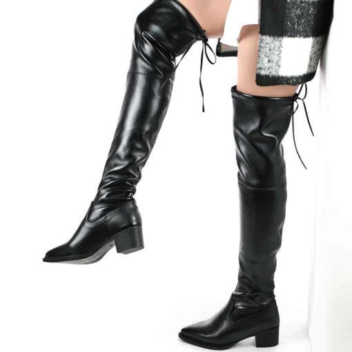 cizme dama inalte peste genunchi fara toc ZepPU