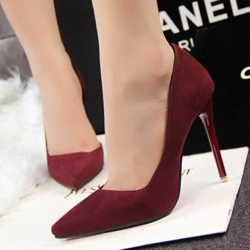 pantofi cu toc bordo