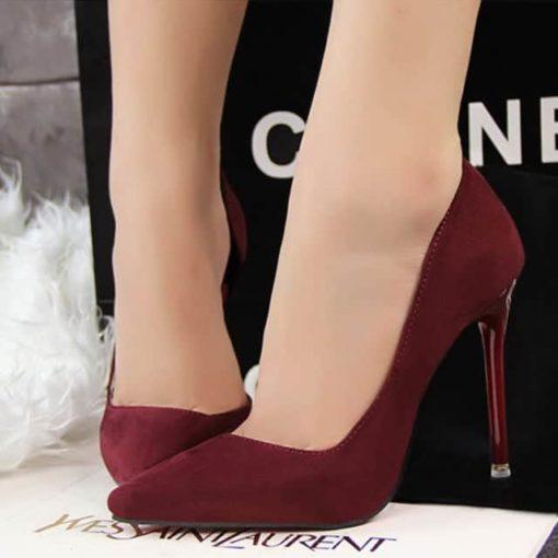 pantofi decupati marsala