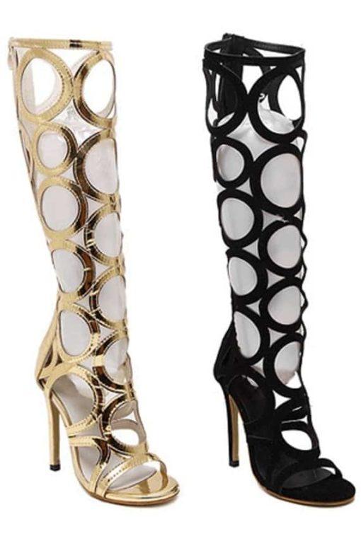 Sandale Gladiator cu toc negru si auriu